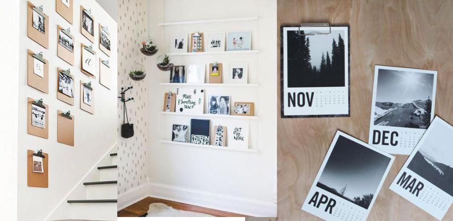Inspiration med clipboards och fotografier