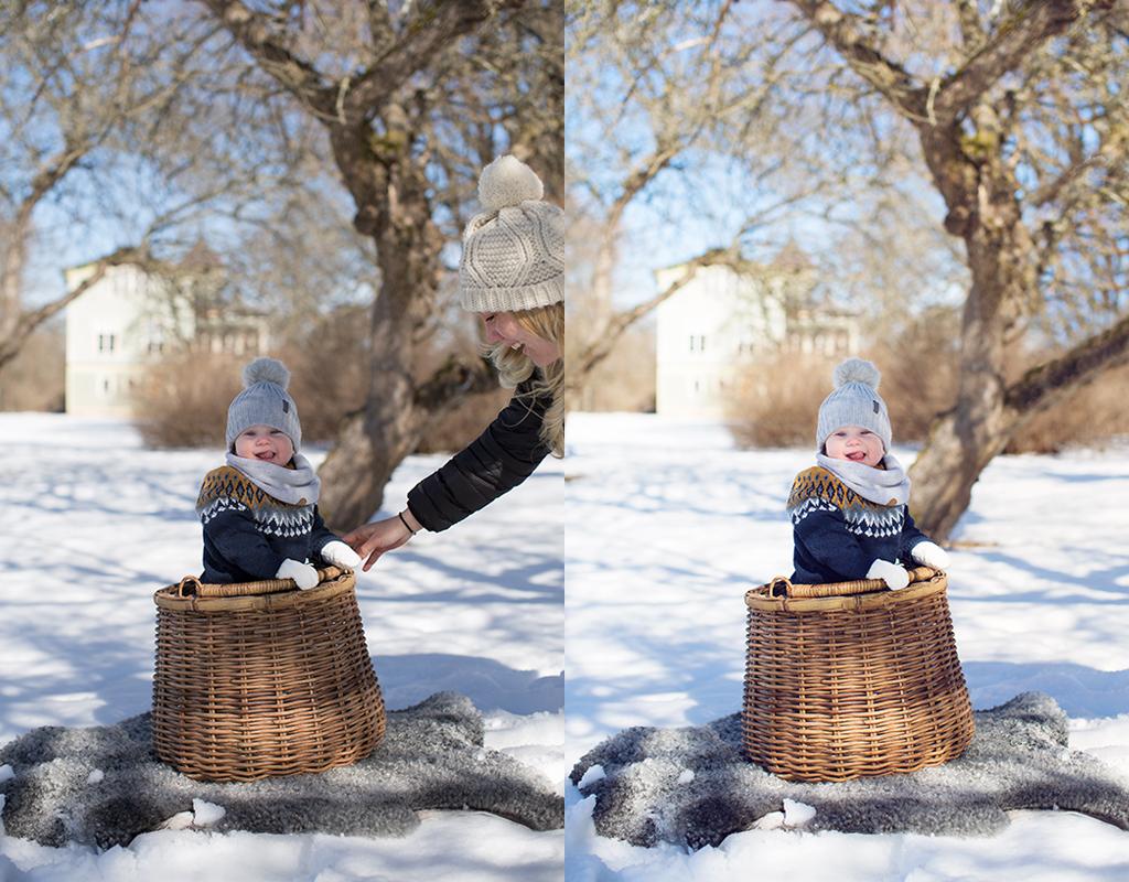 Emmelifoto redigering photoshop barnfotografering fototips Att trolla bort sin vän och fototips på hur du får magiska vinterbilder