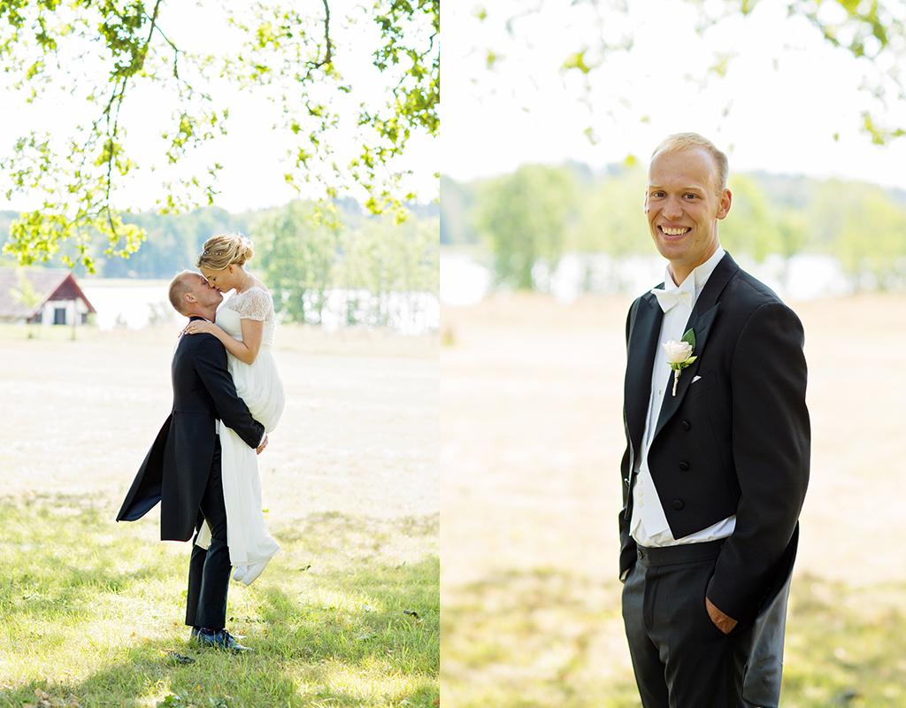 bröllopsfotografering vid Stjernsund slott en solig förmiddag i augusti