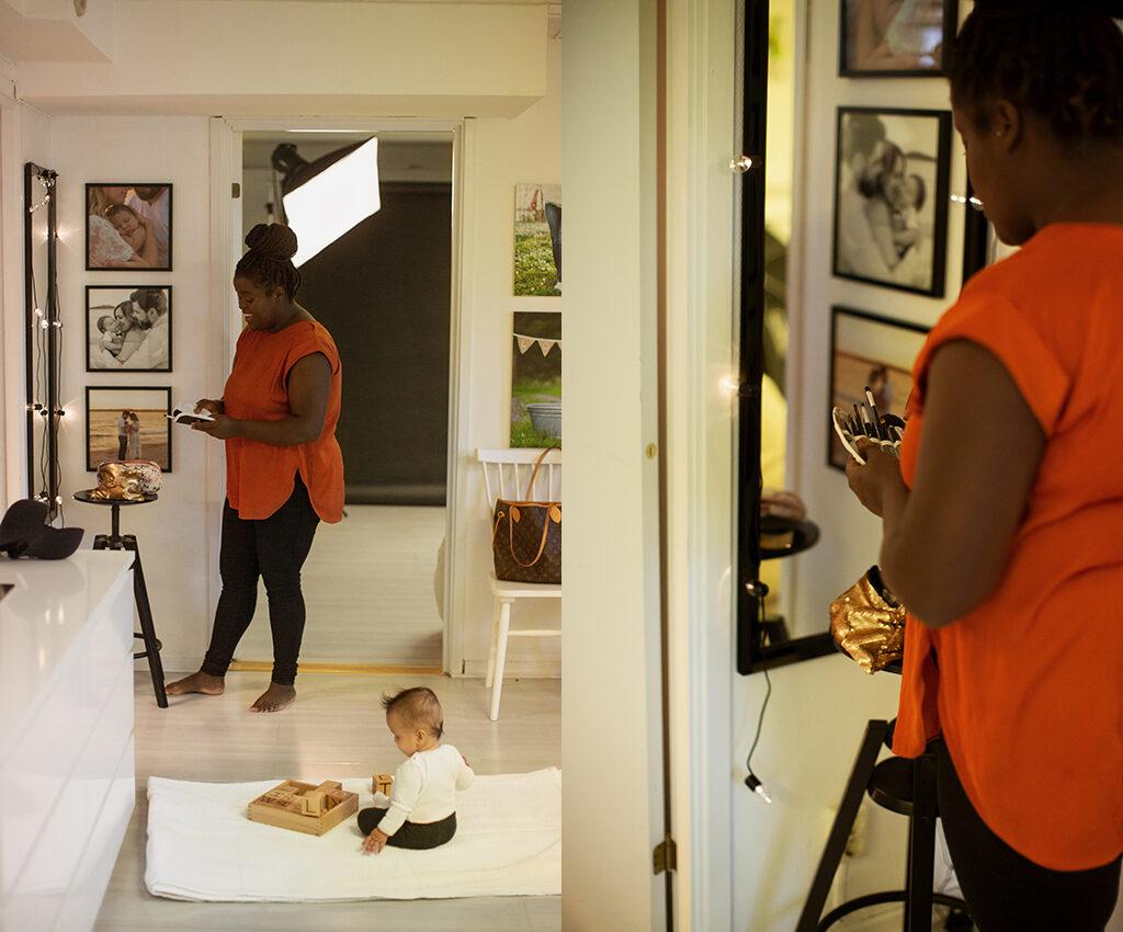studiofotografering mamma barn